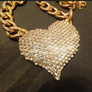Rhinestone heart goldtone link chain necklace